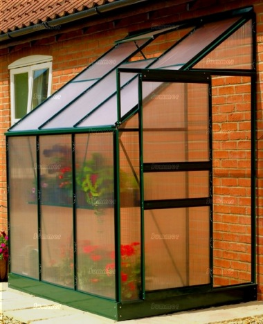 Aluminium Lean To Greenhouse 04 - Green with Polycarbonate